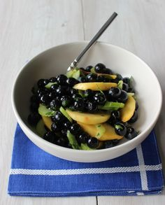Blueberry, Peach And Celery Salad -- July is National Blueberry Month blueberri peach, celeri salad, blueberri salad, peach salad