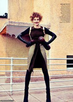 vogue, fashion, michael fassbender, editorial, craig mcdean, alice in wonderland, natalia vodianova, modern time, glove