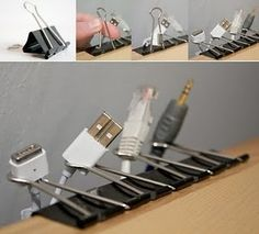 Cable management with binder clips. Clever!