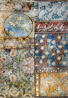 Arts and Crafts velvet print in color Gemstone. #vervain