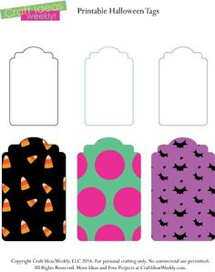 Free printable Halloween gift tags. Cute and fun (not scary or gross) designs for Halloween. http://www.craftsy.com/pattern/paper-crafts/printable-halloween-party-gift-tags/111400 @craftsy #crafts