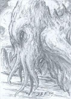 CTHULHU NO 33 original sci fi art, ACEO, lovecraft, cthulhu mythos, horror