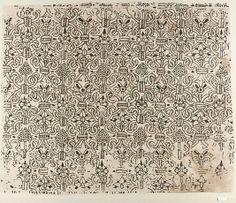 "Panel of blackwork, British, 1580-1620 linen worked with silk thread, buttonhole, cross, outline and herringbone stitches 17.25""x21"" pattern, blackwork inspir, broderi, stitch, display, crosses, embroideri, embellishments, linen"