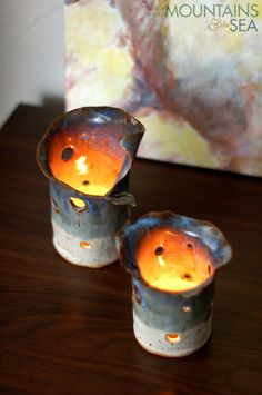 Half Light Candle Holders by @Matty Chuah Mtns & The Sea on #Etsy. $50 for the pair. #handmade #candle #home #gray #lighting #ceramics #pottery