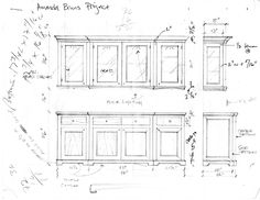 Shop drawing with production notes for custom cherry china cabinet / sideboard for Amanda Bruns-Kim.  This was designed in a very clean, simple, classic American style.   It has elements and cues from Amish, Shaker, Empire, and the Arts & Crafts movement.  So, though it is not a reproduction strictly speaking, its purely American in form.  To see a pic of the finished uppers click here: http://pinterest.com/pin/173881235582949591/