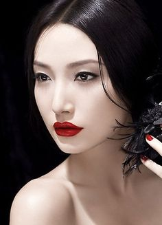 lips red as blood, hair black as night...it's the classic look I always go for natural skin, makeup trends, skin care, dark hair, geisha, black hair, red lips, asian makeup, snow white