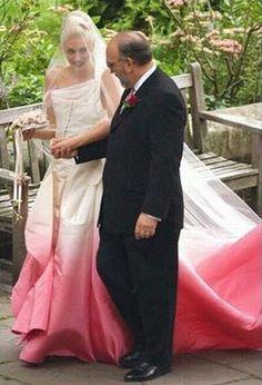 Gwen Stefani's unforgettable pink ombre wedding dress.
