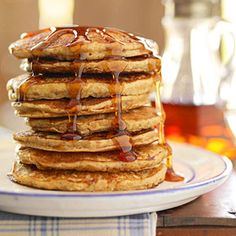 Four Grain Pancakes:  Whole wheat flour, oats, wheat germ and cornmeal are used to make these heart-healthy pancakes. Add flaxseed as well for a dose of healthy fats.