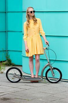 #SwiftyZERO adult kick scooter, Sophia is wearing dress by #Nadinoo