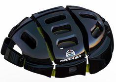 morpher, foldable bike helmet, portable helmet, bike share schemes, bike safety, fold-up bike helmet, sustainable design, green design, eco ...