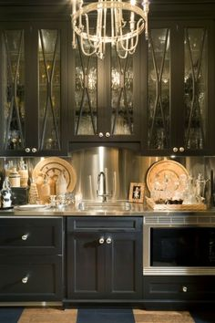 The Best of 2012 - gorgeous butler's pantry - love the black cabinets and stainless backsplash
