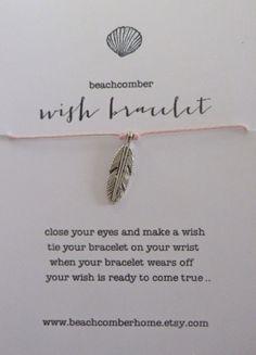 beachcomber wish bracelet or anklet - silver feather boho bracelet - friendship bracelet on Etsy, $8.00