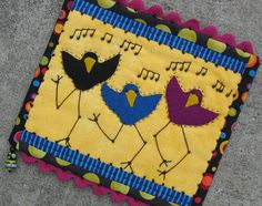 folk art wall quilt dancing birds one of a kind by gonetoseed, $30.00 Coasters Quilted, Danc Bird, Quilt Danc, Folk Art, Wall Quilts, Bird Dance, Birds, Beauti Flower, Art Walls