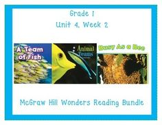 This first grade interactive journal is aligned to Common Core and to the McGraw Hill Wonders series for Unit 4-Week 2. These journal entries allow students to be engaged while reading the text. All the skills in one place!