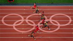 Usain Bolt of Jamaica on his way to winning gold in the men's 100m final