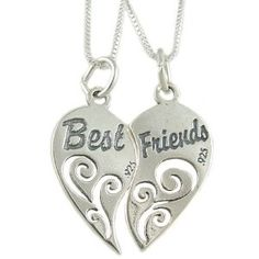 friends, sterl silver, sterling silver, chain necklac, necklaces, friend necklac, heart pendant, friend heart, box chain