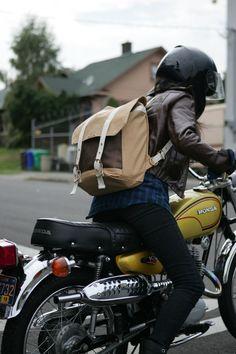biker babe, motorcycles, backpacks, adventure time, biker girl, motorbik, leather jackets, yellow, bags