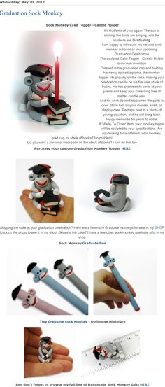 Introducing my Graduate Sock Monkey Cake Topper - Candle Holder and a few more Handmade graduate sock monkey gift ideas by MagicByLeah