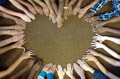 would be cool using members of the wedding party???  heart made using hands: end of the year class photo
