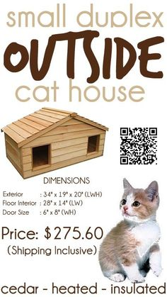 Small Duplex Insulated Cedar Outside Cat House – Small Dog House.   Weighing 40 pounds this small duplex insulated cedar cat house- small dog house, keeps your pet warm in the winter, but also gives them a cool place to relax during the heat of the summer. It's perfect for that colony of ferals that need a home, or for the indoor kitty or dog that insists on hanging out near you #outdoorcathouse #outsidecathouse #catoutsidehouse #cat #outdoor #outside #house www.catbedandtoy.com