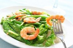 This delicious looking shrimp and peapod salad is part of an HCG diet.
