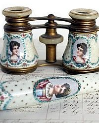 Antique French Opera Glasses Jeweled Enamel & MOP-Napoleon,garlands, rose,portrait, lady,jewels, celeste blue, sevres,hand painted,binoculars, handle,1800's,19th century,mother, pearl