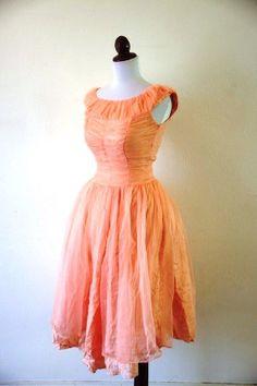 Vintage 1950s Peach Chiffon Prom Dress. $95.00, via Etsy.