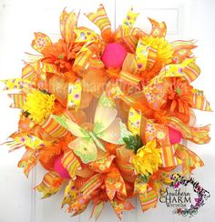Deco Mesh Spring Summer Wreath Orange Yellow with Butterfly by www.southerncharmwreaths.com #decomesh #butterfly #springdecor $124