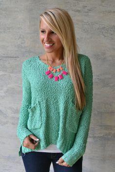 Piace Boutique - Snuggle Bear Sweater (Jade), $46