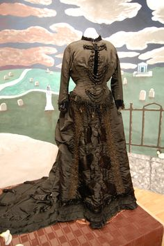 Victorian Mourning Gown with Jet Beading