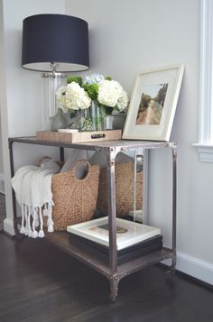 One Story Building: Amazing console vignette with Home Decorators Industrial Louis Console, Crate Barrel ...