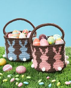 Lily Sugar'n Cream - Bunny Egg Basket (free crochet pattern) #easter