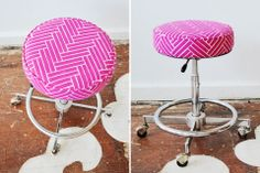 A vintage chrome stool with an adjustable seat, upholstered in Ryan Parker's lovely Herringbone screen printed textile.   Available for purchase, $275.00