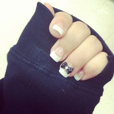 French nails with bow decal