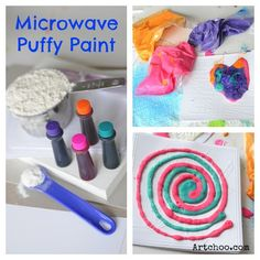 DIY Microwave Puffy Paint - puffs up when you microwave it
