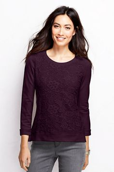 Women's 3/4-sleeve Lace Front Crew from Lands' End
