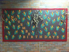 November Birthday Bulletin Board -Indian Corn