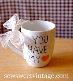 You have my heart Valentine Day mug by SewSweetVintageco on Etsy, $8.00