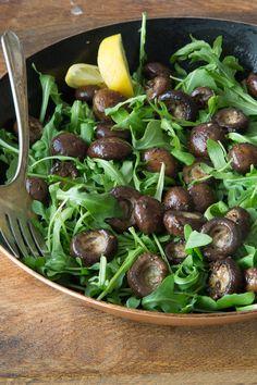 healthy meals, gabi cook, side dishes, mushroom salad, salad recipes, olive oils, garlic roast, roast mushroom, mushrooms