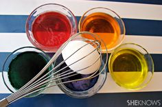 Why didn't I think of this?  : )  Easter egg dying for clever people ... Use a whisk!! GENIUS!!