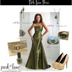 Peacock Prom, created by parklanejewelry on Polyvore  Park Lane Jewelry featured: Peacock necklace, bracelet, earrings,  ring parklanejewelry