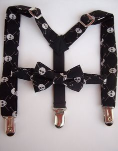 bow tie and suspender set for toddler boy - black with skulls MICHAEL MILLER.