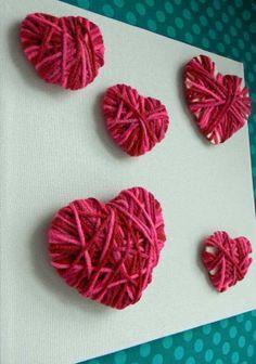 50 Creative Valentine Day Crafts for Kids   Valentine Crafts for kids table decorations, valentine crafts, yarn crafts, valentine day crafts, craft kid, diy valentine's day, valentines day decorations, yarn heart, craft ideas