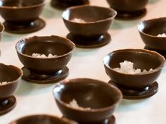 Chocolate salt cups with a chocolate menu to match