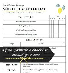 The ultimate cleaning schedule and printable checklist. Daily, weekly, and monthly to-dos