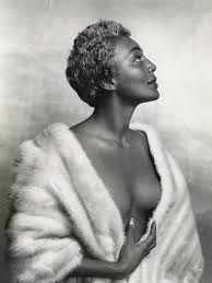 """With the perfect hourglass figure, backless dresses & silver tinted hair, jazz singer Joyce Bryant became known as """"The Bronze Bombshell"""" AKA The Black Marilyn Monroe. She would become the first dark-skinned African-American woman celebrated by the mass media as a 'sex-symbol'. She made her way to the stage in 1940. It was there she gained national and international acclaim for her earthy, sultry tone and figure flattering costumes"""