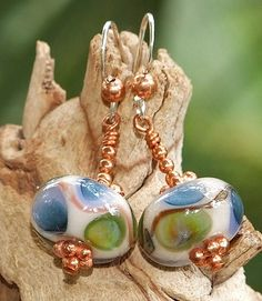 Lampwork Boro Glass Copper Sterling Earrings Handmade One of a Kind