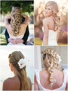 Peinados para novias con pelo largo semi-recogidos