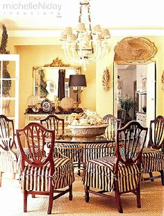 Dining Room by Michelle Niday Interiors. The lovely visual impact of simple striped slipcovers on traditional chairs.