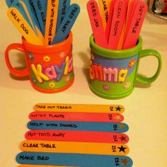 Chore sticks. Very effective, and the girls love seeing their allowances build as they do their chores. Once a chore is done the stick is flipped so the star is up, this way we can differentiate the chores that have been completed.